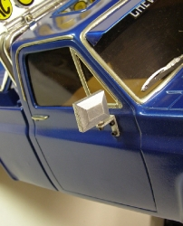 Tamiya Clodbuster 58065 Blue and Chrome - Passenger Side Mirror Close-Up