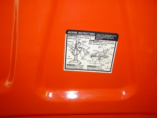 1969 Camaro SS 396 For Sale - Inside Trunk Lid Jack Instruction Sticker